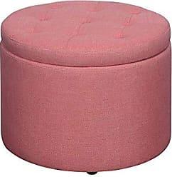Convenience Concepts 161546FCA Designs4Comfort Round Shoe Ottoman, Coral Faux Linen