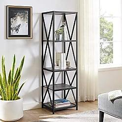 Walker Edison WE Furniture AZST18XMWSG Bookcase, 61, Slate Grey/Black Metal