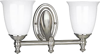PROGRESS P3028-09 Delta Two-light bath bracket in Brushed Nickel finish with white opal glass