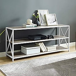 Walker Edison WE Furniture AZS60XMWGWW Bookcase 60 Grey Wash/White Metal