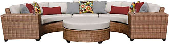 TK Classics Outdoor TK Classics Laguna Wicker 6 Piece Patio Conversation Set with Round Coffee Table and 2 Sets of Cushion Covers Beige / Wheat - LAGUNA-06C-BEIGE