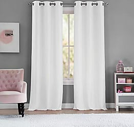 Duck River Textile Lala + Bash - Ashlee Solid Grommet Top Window Curtains for Living Room & Bedroom - Assorted Colors - Set of 2 Panels (36 X 84 Inch - White & Gold)