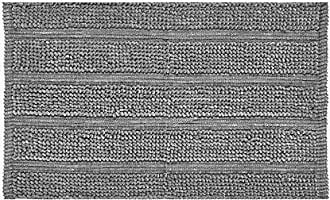 Five Queens Court Laney Plush Stripe, No-Skid, Loop Texture, Contemporary Bath Rug, Grey