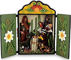 Novica Wood and ceramic nativity scene, Huancayo Christmas