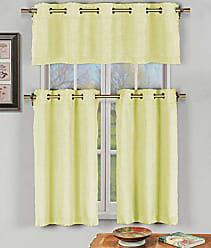 Duck River Textile Duck River Textile Agnes Solid 3 Piece Kitchen Window Curtain Tier & Valance Set, 2 30 x 36 & One 60 x 16, Yellow