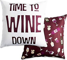 Pavilion Gift Company Pavilion-Time to Wine Down-14x14 Inch Purple Patterned Cover Pillow, 14X14