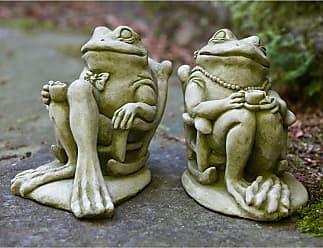 Campania International USA-Made Cast Stone Coffee and Tea Frog Garden Statues