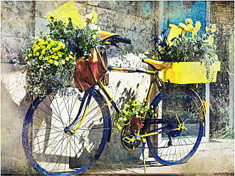 West of the Wind Blue & Yellow Bike Outdoor Canvas Wall Art - OU-80917