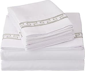 Superior Super Soft Light Weight, 100% Brushed Microfiber, Twin XL, Wrinkle Resistant, 4-Piece Sheet Set, White with Grey Regal Embroidery in Gift Box