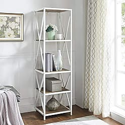 Walker Edison WE Furniture AZST18XMWWRO Bookcase, 61, Rustic Oak/White Metal