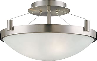 George Kovacs P591-084 Semi Flush in Brushed Nickel finish with White Frosted Glass