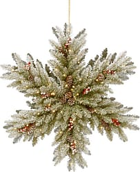 National Tree Company 32 in. Snowy Dunhill Fir Double-Sided Snowflake Decoration with LED Lights - DUF3-303-32SB-1