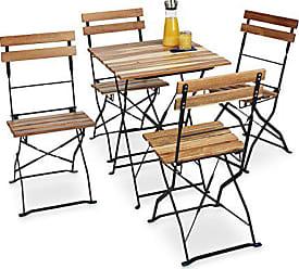 Fantastisch Relaxdays Gartenstuhl 4er Set, Klappbar, Metall, Naturholz, Ohne Armlehnen,  H X