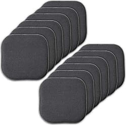 Sweet Home Collection Memory Foam Chair Cushion Honeycomb Pattern Solid Color Slip Non Skid Rubber Back Ultimate Comfort and Softness Rounded Square 16 x 16 Seat Cover, 12 Pack, Charcoal Gray