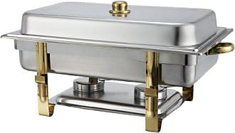 Winco USA Winware 8 Quart Stainless Steel Gold Accented Chafer