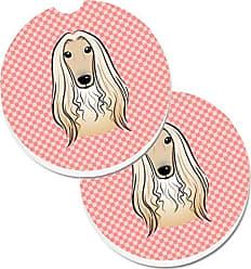 Multicolor Carolines Treasures Bedlington Terrier Checkerboard Pink Pair of Pot Holders BB3594PTHD 7.5HX7.5W