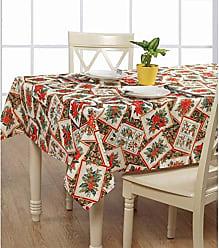 Violet Linen Euro POINSET BL Tablecloth, 60, Beige