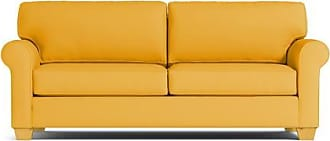 Apt2B Lafayette Queen Size Sleeper Sofa - Leg Finish: Natural - Sleeper Option: Deluxe Innerspring Mattress - Yellow Plush Velvet - Sold by Apt2B - Mod
