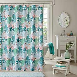 INTELLIGENT DESIGN Tropicana Printed Shower Curtain Aqua 72x72