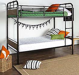 Walker Edison WE Furniture Metal Wood Bunk Bed, Twin, Black