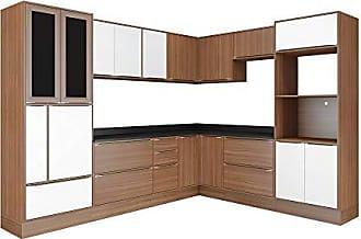 Multimóveis Cozinha 14 Módulos 19 Portas 5 Gavetas Nogueira E Branco Multimóveis