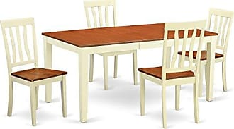 East West Furniture NIAN5-WHI-W 5 Piece Table and 4 Dining Room Chairs Set