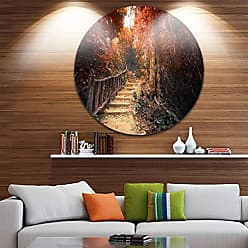 DESIGN ART Designart Stairway Through Red Fall Forest - Landscape Photo Round Wall Art - Disc of 38 38x38-Disc of 38 inch