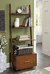 Convenience Concepts 8043491DWN American Heritage Ladder Bookcase with File Drawer, Dark Walnut