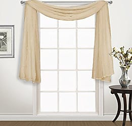 United Curtain Venice Crushed Voile Window Scarf Topper, 50 x 144, Gold