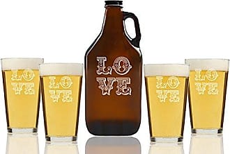 Chloe and Madison love Ornate Beer Amber Growler & pint Glasses, Set of 5