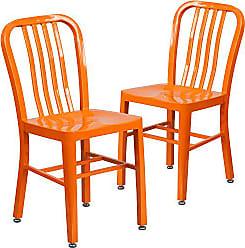 Flash Furniture 2 Pk. Orange Metal Indoor-Outdoor Chair