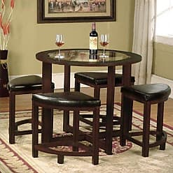 Round Hill Furniture Cylina Solid Wood Glass Top Round Dining Table with 4 Chairs