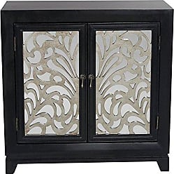 Heather Ann Creations 2 Door Accent Cabinet/Console with Mirror Backed Carved Grille and Center Shelf, 32 x 32, Black/Silver