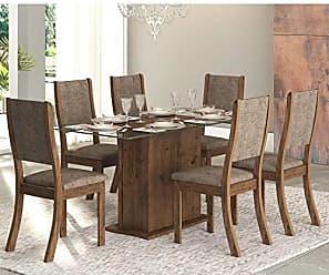 Viero Conjunto Sala de Jantar Mesa Tampo em Vidro Desirê 6 Cadeiras Kiara New Viero Grigio/Canela