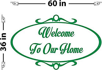 The Decal Guru Welcome to Our Home Wall Decal (Light Green, 36 (H) X 60 (W))