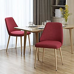 Christopher Knight Home 303210 Mable Mid Century Red Fabric Dining Chairs with Light Walnut Wood Finished Legs (Set of 2)