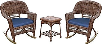 Jeco W00205R-C_2-RCES011 3 Piece Rocker Wicker Chair Set with with Blue Cushion, Honey