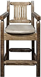 Montana Woodworks MWHCBSWCASSLBUCK24 Homestead Collection Counter Height Captains Barstool, Buckskin Upholstery, Stain & Lacquer Finish