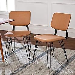 Walker Edison WE Furniture AZHUPHAR2PTN Accent Dining Chair Set, Set of 2, Tan