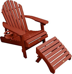 highwood USA Hamilton Folding and Reclining Adirondack Chair with Ottoman and Cup Holder