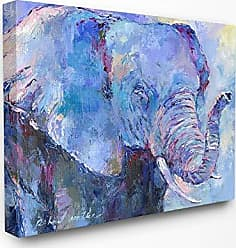 Stupell Industries The Stupell Home Décor Collection Brightly Colored Blue and Purple Painted Elephant Portrait Stretched Canvas Wall Art, 30 x 40, Multi
