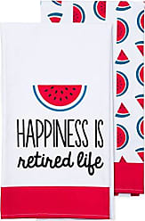 Pavilion Gift Company Pink Watermelon Patterned Tea Towel Set of 2 Happiness is Retire Life 19.75 x 27.5 inch