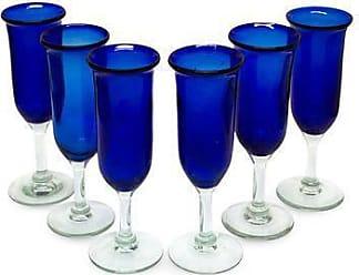 Novica Champagne glasses, Cobalt (set of 6) - 6 Handcrafted Handblown Glass Blue Champagne Glasses Set