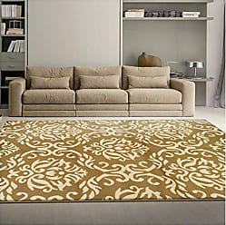 Home City Inc. Superior Fleur de Lis Collection Area Rug, Elegant Scrolling Damask Pattern, 10mm Pile Height with Jute Backing, Affordable Contemporary Rugs - Gold, 5 x 8 Rug