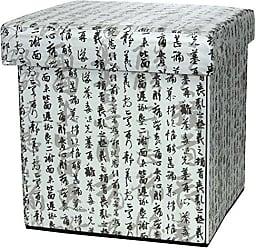Oriental Furniture ORIENTAL Furniture Calligraphy Storage Ottoman