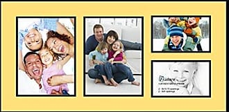 Art to Frames Collage Photo Frame Double Mat with 2-5x8, 8x10.75 Openings with Satin Black Frame and Canary mat