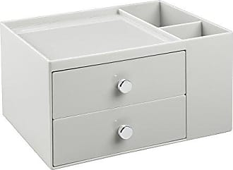 InterDesign 2-Drawer Cosmetic Organizer for Makeup, Beauty Products - Light Gray