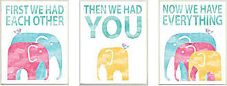 Stupell Industries Stupell Home Décor We Have Everything Watercolor Elephants 3pc Wall Plaque Art Set, 10 x 0.5 x 15, Proudly Made in USA