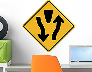 Wallmonkeys WM155391 Divided Highway Begins Sign Peel and Stick Wall Decals H x 18 in W, 18 18 W-Small
