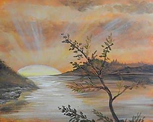 Buyartforless Buyartforless Orange Sunset by Ed Capeau 30x24 Art Print Poster Sun Water Ocean Trees Sunrise Made in The USA